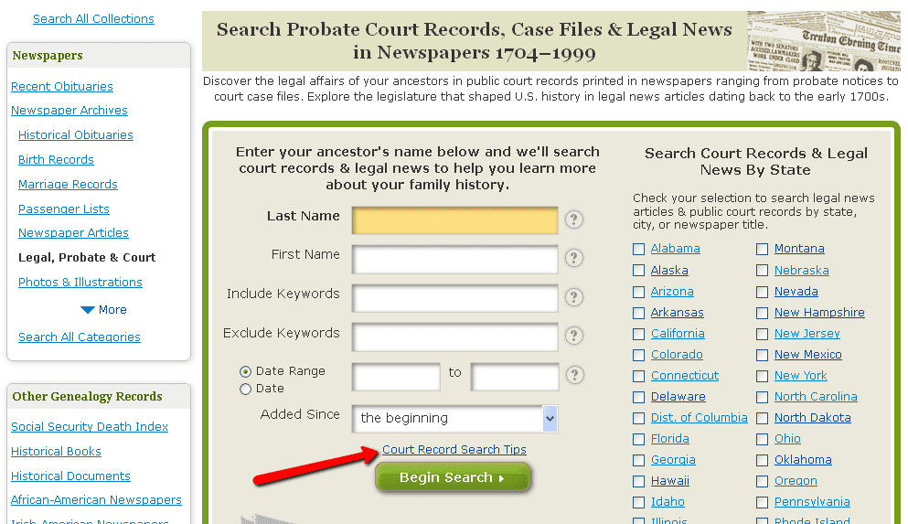screenshot of GenealogyBank's Legal, Probate and Court records search page showing the Search Tips link