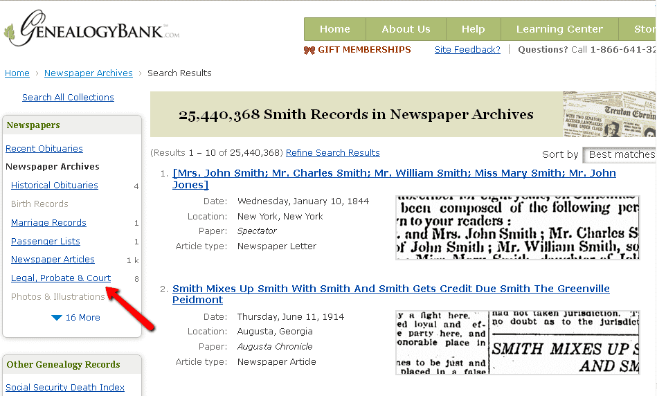 screenshot of GenealogyBank's search results page showing the Legal, Probate and Court records search option