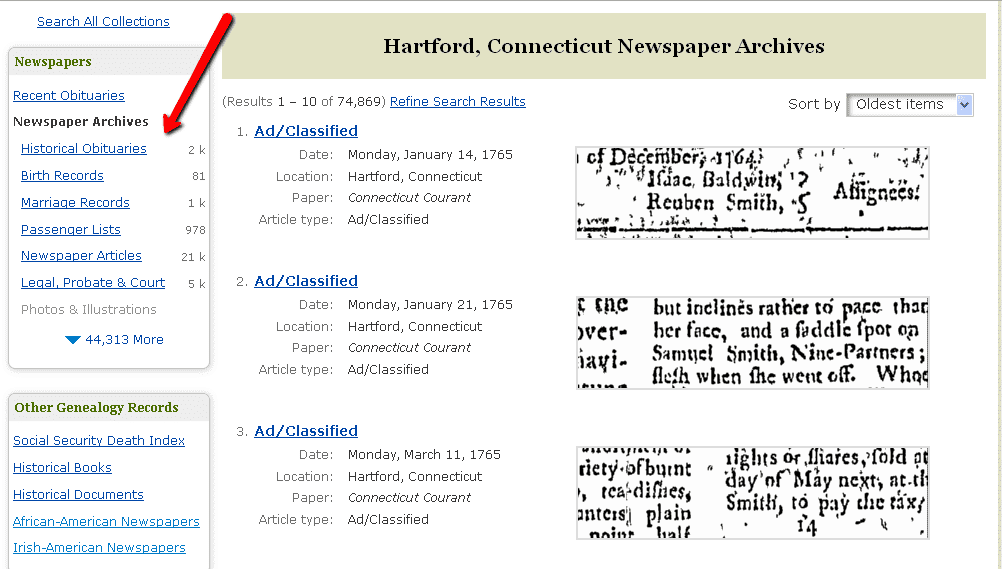 screenshot showing the newspaper article types on GenealogyBank's search results page