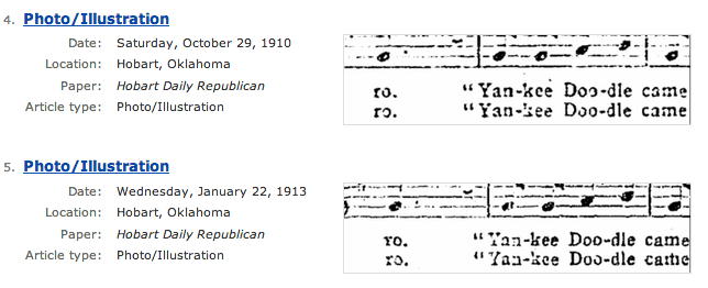 Historical Music Sheet Tab in Historical Newspapers Genealogy Bank