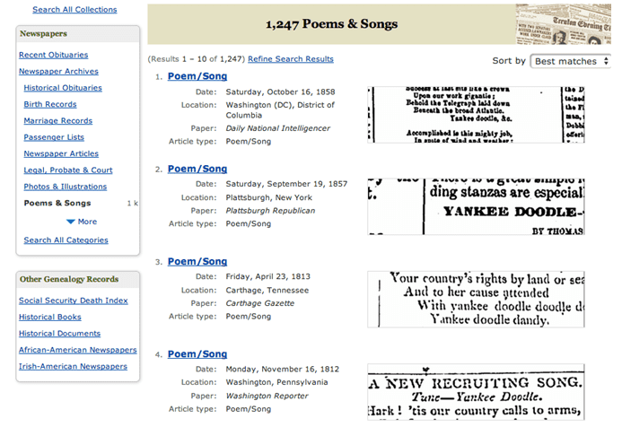 "search results for ""Yankee Doodle"" in GenealogyBank"
