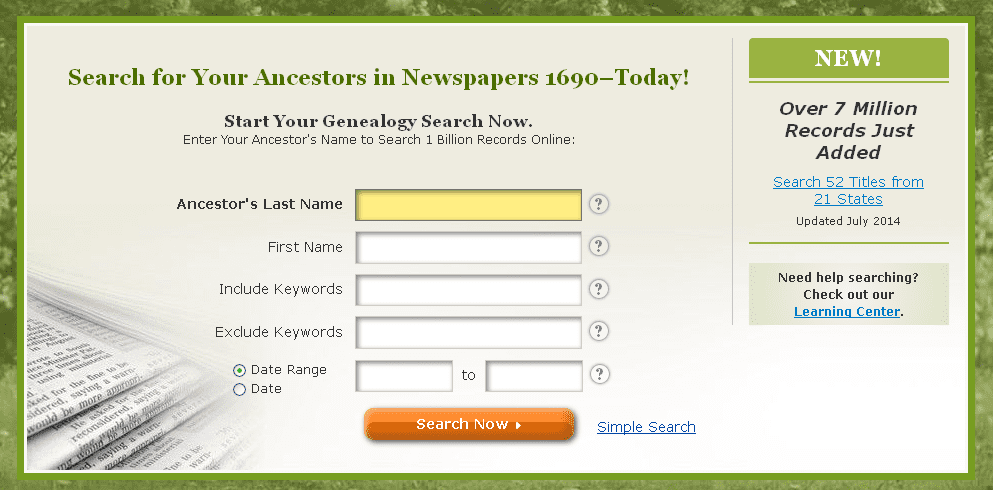 screenshot of GenealogyBank's home page announcing addition of 7 million more genealogy records