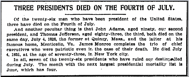 Three Presidents Died on the Fourth of July, Grand Rapid Press newspaper article 4 July 1907
