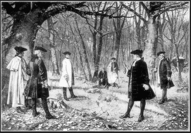 painting of the duel between Alexander Hamilton and Aaron Burr, by J. Mund