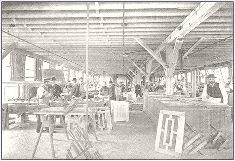 illustration of the St. John Wood Working Company, Hardwood and Cabinet Department