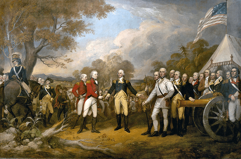 Painting: surrender of British General John Burgoyne at Saratoga on 17 October 1777 to American General Horatio Gates, by John Trumbull
