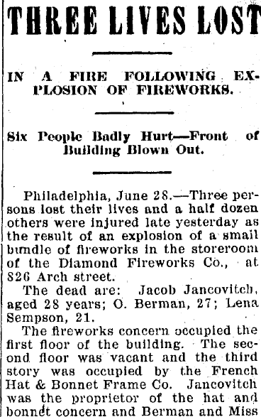 Three Lives Lost in a Fire Following Explosion of Fireworks, Jackson Citizen Patriot newspaper article 28 June 1904