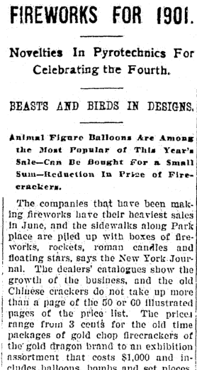 Fireworks for 1901, Jackson Citizen Patriot newspaper article 3 July 1901