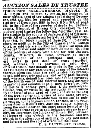 Auction Sales by Trustee, Kansas City Times newspaper article 29 January 1891