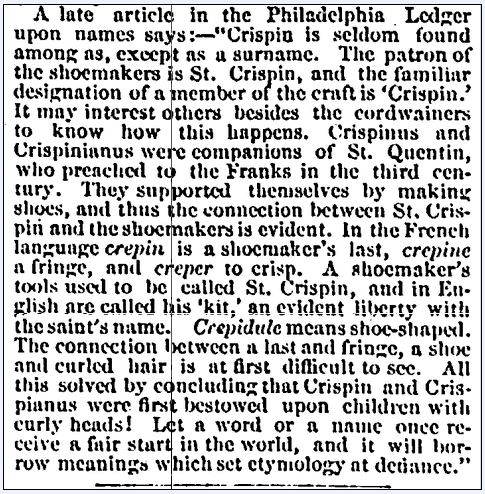 article about the family surname Crispin, Massachusetts Spy newspaper article 8 September 1871