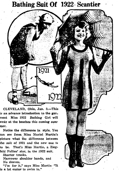 swimsuit ad, Miami District Daily News newspaper advertisement 3 January 1922