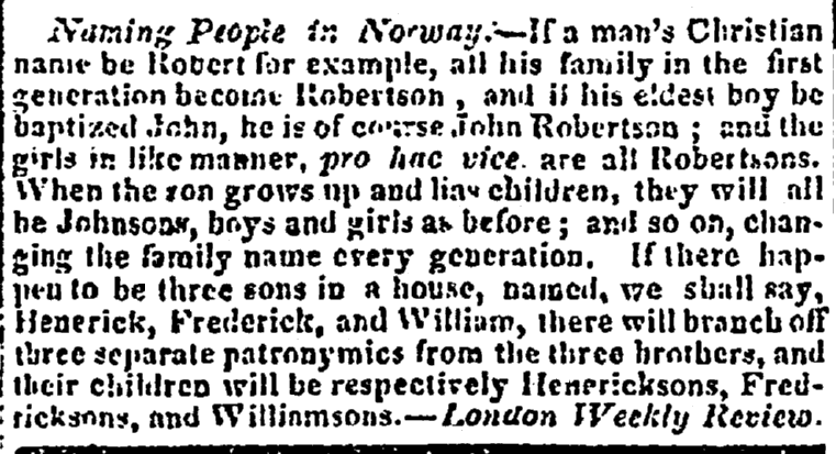 Naming People in Norway, National Advocate newspaper article 28 November 1828