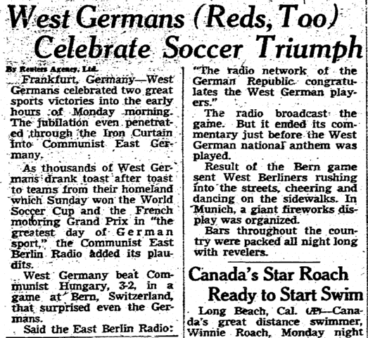 West Germans (Reds, Too) Celebrate Soccer Triumph, Omaha World Herald newspaper article 6 July 1954