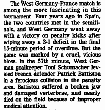 article about French defender Patrick Battiston being injured in soccer's 1982 World Cup, Oregonian newspaper article 25 June 1986