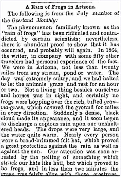 A Rain of Frogs in Arizona, Oregonian newspaper article 8 July 1871