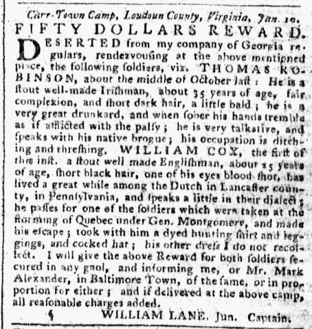 article about deserters in the American Revolutionary War, Pennsylvania Packet newspaper article 25 February 1777