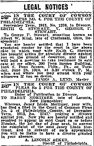 divorce legal notices, Philadelphia Inquirer newspaper articles 22 May 1914