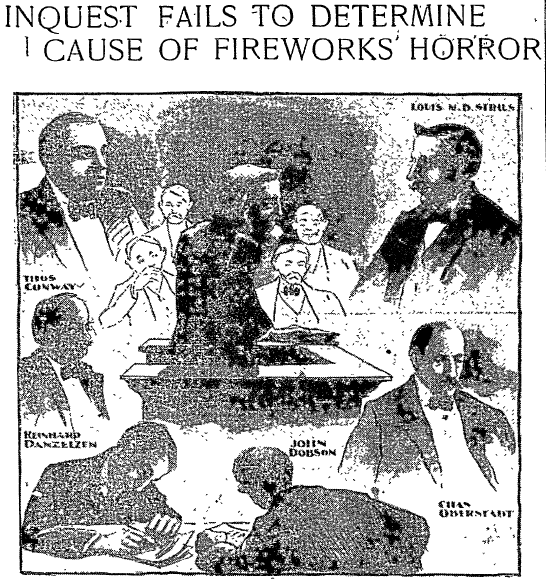 Inquest Fails to Determine Cause of Fireworks Horror, Philadelphia Inquirer newspaper article 3 July 1904