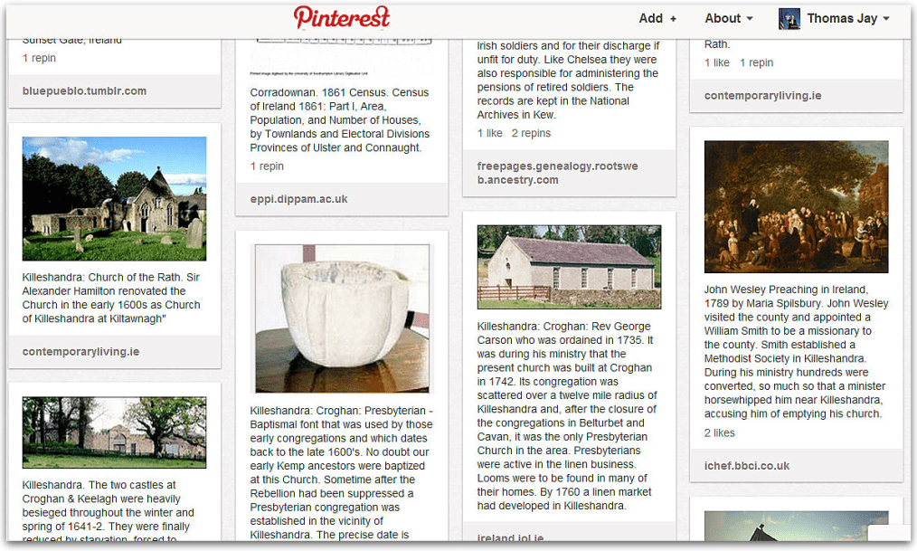 Pinterest board showing scenes from Ireland