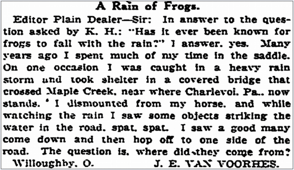 A Rain of Frogs, Plain Dealer newspaper article 8 May 1922
