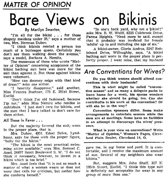 Bare Views on Bikinis, Plain Dealer newspaper article 2 July 1960