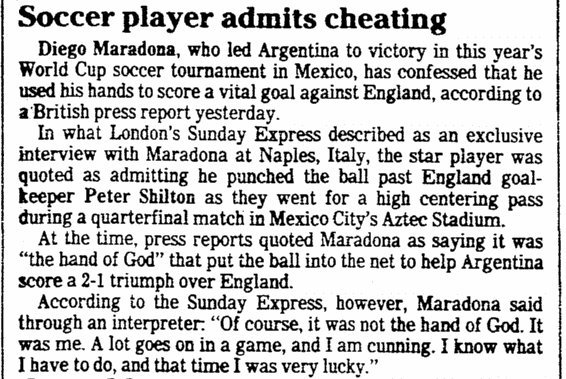 Soccer Player (Maradona) Admits Cheating, Plain Dealer newspaper article 17 November 1986