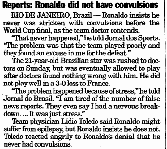 Reports--Ronaldo Did Not Have Convulsions, Register Star newspaper article 18 July 1998