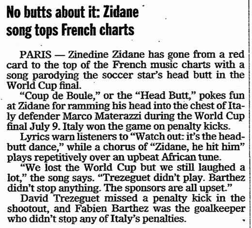 No Butts about It--Zidane Song Tops French Charts, Register Star newspaper article 3 August 2006