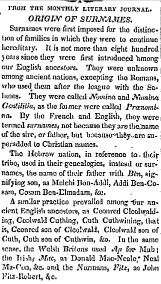 Origin of Surnames, Rhode-Island American newspaper article 4 November 1823