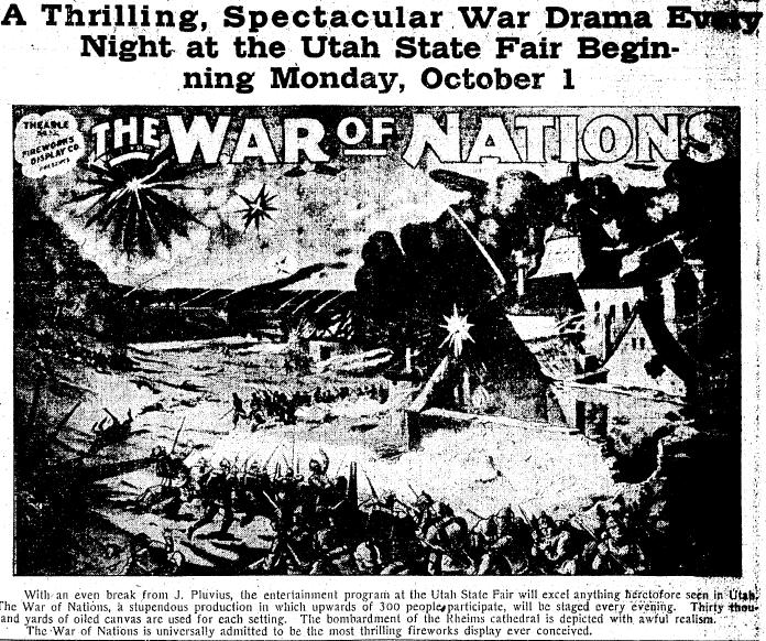 fireworks ad for the Utah State Fair, Salt Lake Telegram newspaper advertisement 27 September 1917