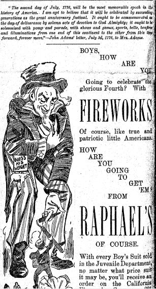 ad for fireworks, San Francisco Chronicle newspaper advertisement, 25 June 1893