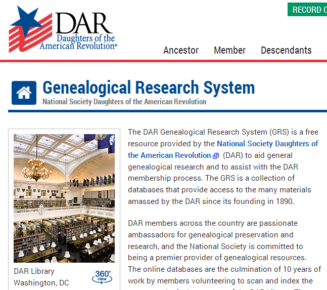 screenshot of the Daughters of the American Revolution's Genealogical Research System website