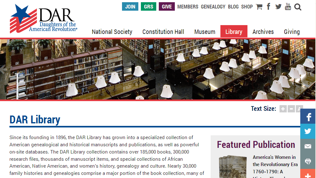 screenshot of the Daughters of the American Revolution's Library website