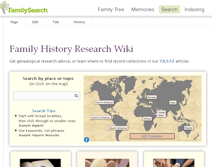 screenshot of FamilySearch's Family History Research Wiki website
