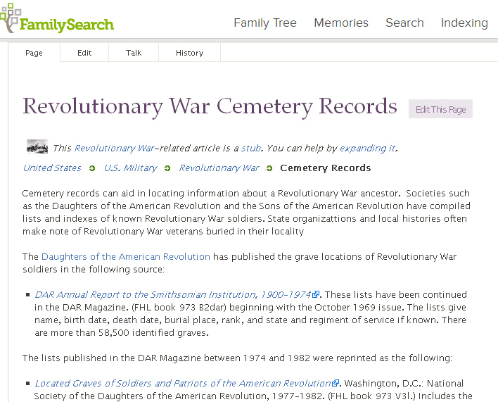 screenshot of FamilySearch's page for American Revolutionary War records