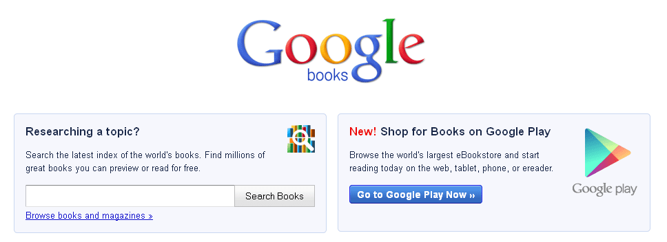 screenshot of the Google Books website