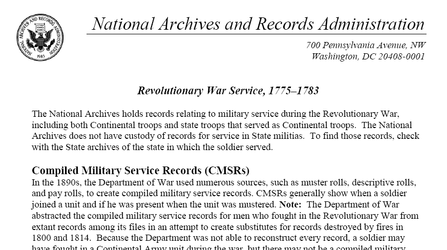 screenshot of the National Archives and Records Administration's American Revolutionary War records website