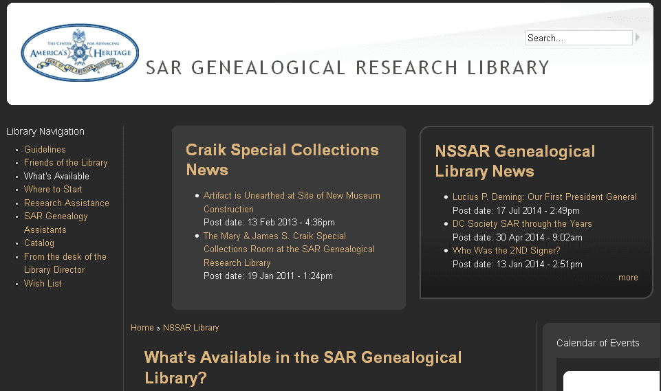 screenshot of the Sons of the American Revolution's Research Library website