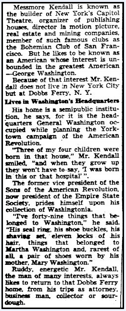 article about Messmore Kendall and George Washington, Seattle Daily Times newspaper article 27 August 1935