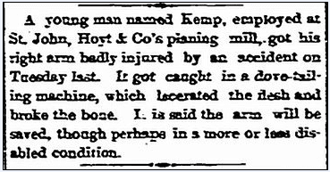 article about an accident at the St. John Wood Working Company, Stamford Advocate newspaper article 12 November 1886