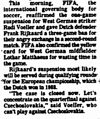article about the 1990 World Cup in Italy when the Netherlands' Frank RijKaard spat at Germany's Rudi Voeller, State Times Advocate newspaper article 27 June 1990