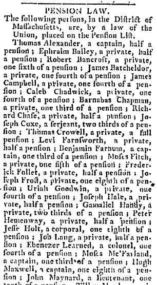 Pension Law, Western Star newspaper article 19 September 1796