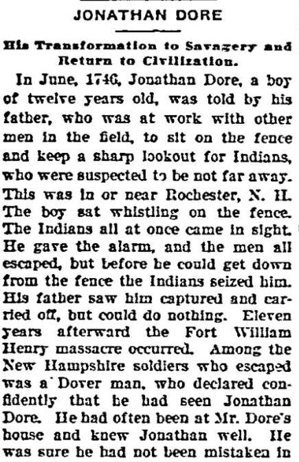 Jonathan Dore, Aberdeen Daily News newspaper article 5 January 1905