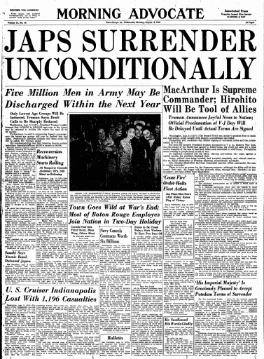 Japs Surrender Unconditionally, Advocate newspaper article 15 August 1945
