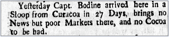 article about a cocoa shortage, American Weekly Mercury newspaper article 16 March 1727