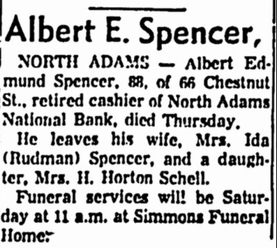 obituary for Albert Spencer, Boston Herald newspaper article 5 February 1965