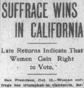 Suffrage Wins in California, Boston Journal newspaper article 13 October 1911