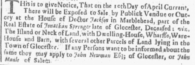 article about an estate sale for Jonathan Springer, Boston News-Letter newspaper article 2 April 1716