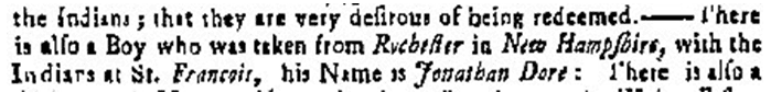 article about Jonathan Dore being taken captive by Abenaki Indians, Boston Post Boy newspaper article 10 July 1749