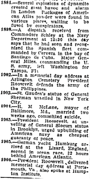 timeline of important historical events, Charlotte Observer newspaper article 30 May 1907